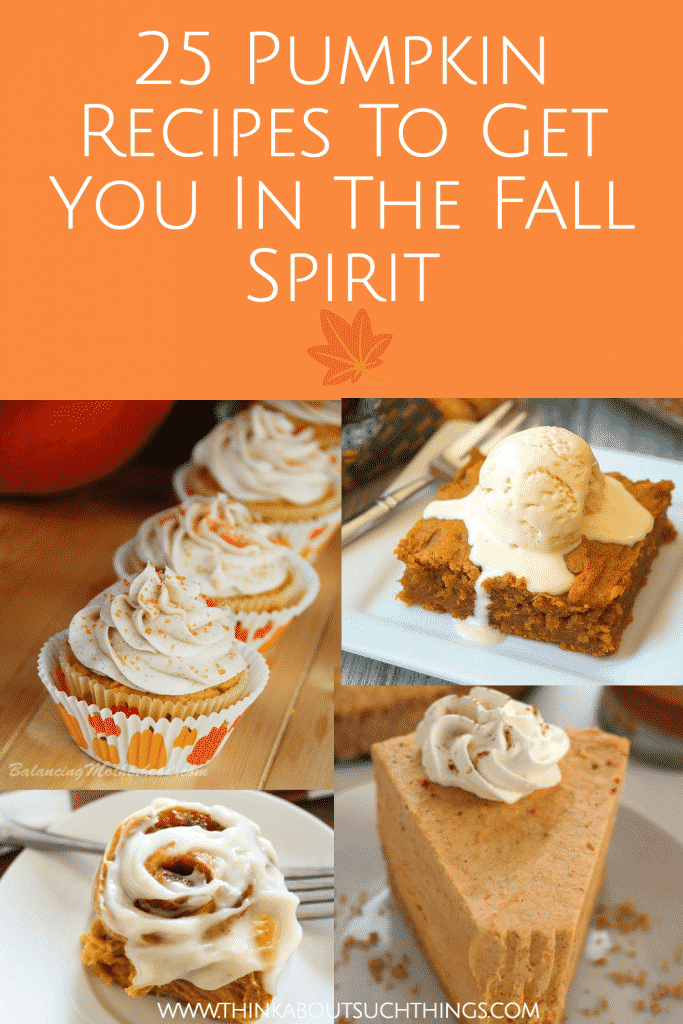 25 Delicious pumpkin recipes to get you ready for fall. Discover pumpkin bread, pumpkin cookies and more! YUM #pumpkin #pumpkinrecipes