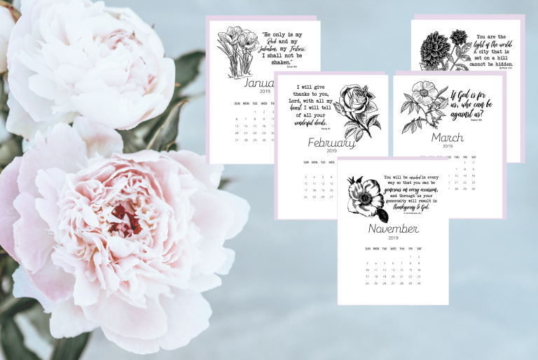 Free 2019 Floral Calendar with Bible Verses