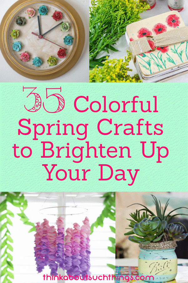 Spring has sprung! And it's time for some spring crafts. Check out these 35 fun, colorful and easy craft projects. #spring #crafts #DIY