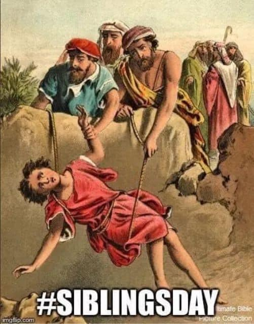 Joseph being sold into slavery because of his dreams - Meme #siblingsday