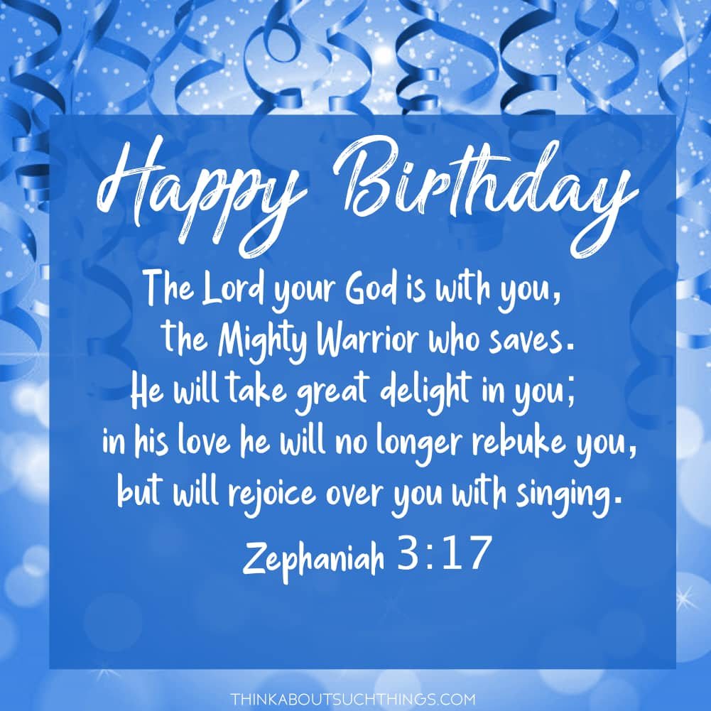 birthday bible verse for son blue confetti Zephaniah 3:17