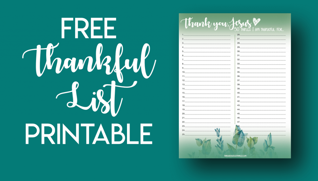 Thankful list or greatful list to download as a printable.