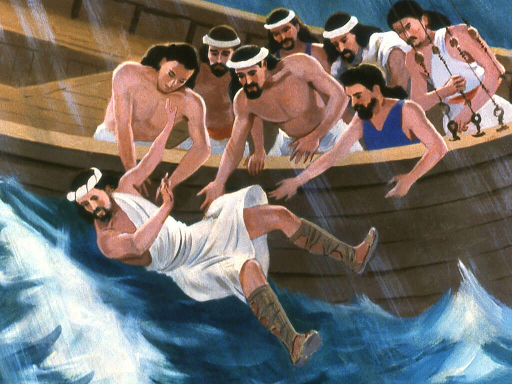 Jonah in the Bible being tossed into the water