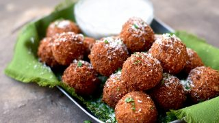 Fried Mozzarella Balls with Pumpkin, Sage and Caramelized Onion