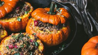 Wild Rice Stuffed Pumpkins with Herbed Breadcrumbs