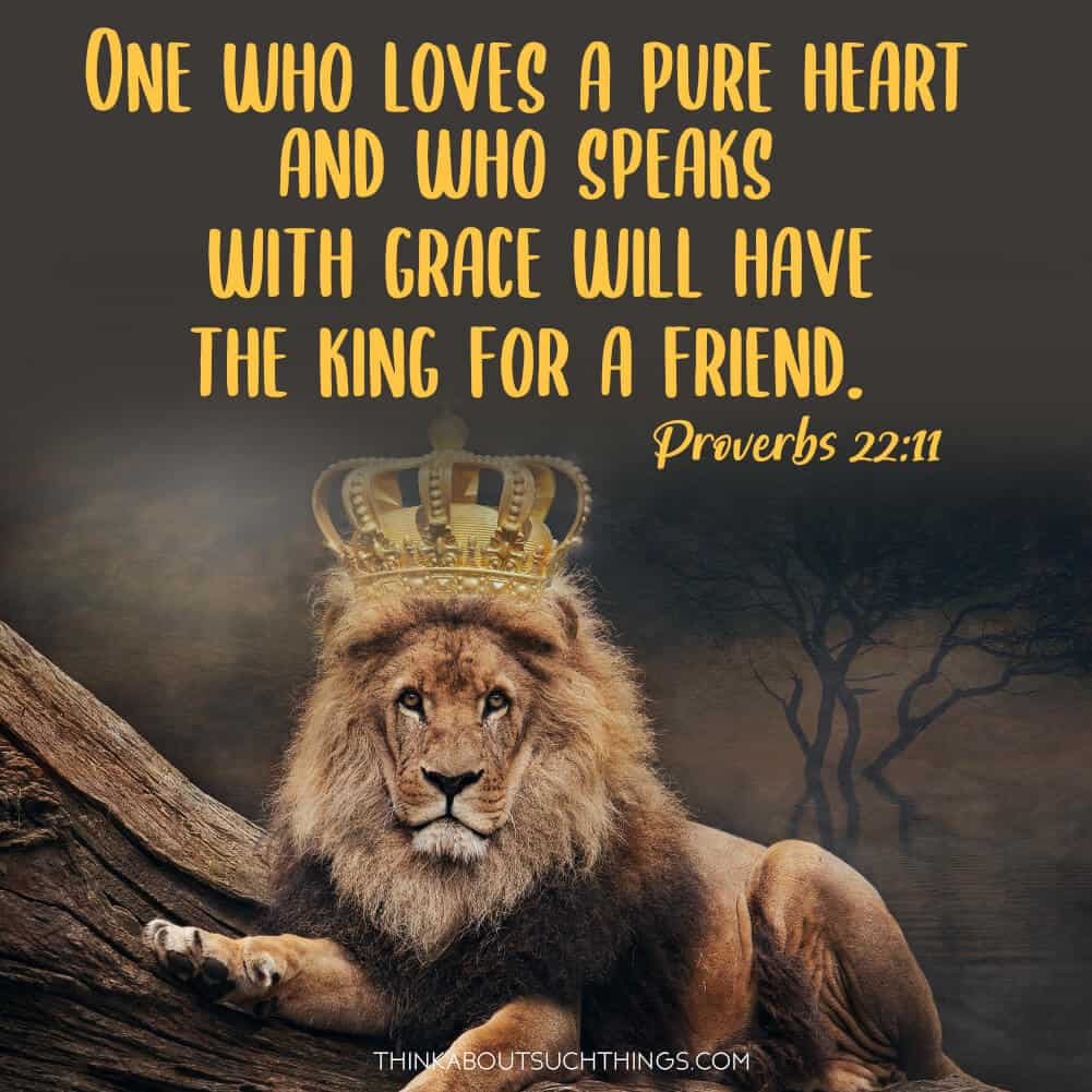 scriptures about friendship: Proverbs 22:11 One who loves a pure heart and who speak with grace will have the king for a friend.""