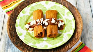 Pumpkin Chorizo Tamales with Pumpkin Mole