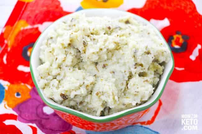 Pesto Cauliflower Mashed Potatoes - Keto