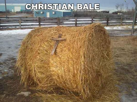 funny religious puns: Christian Bale with hay and a cross