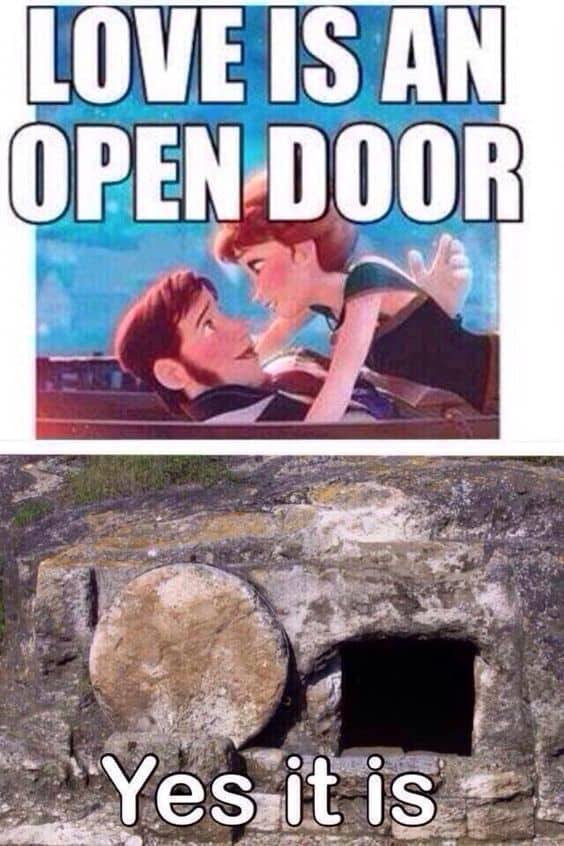Open door meme about Jesus