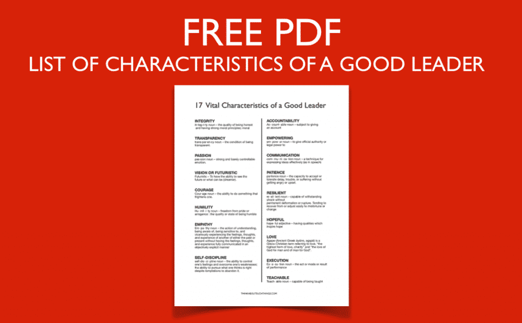 Free PDF - Leadership Qualities list