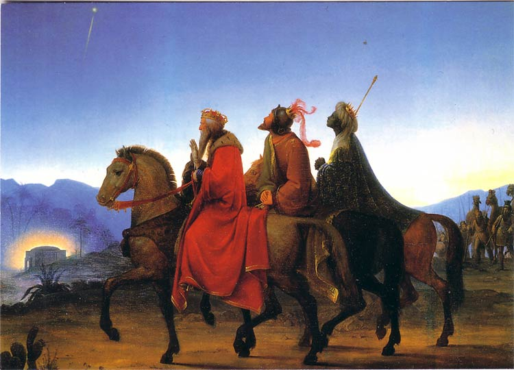 The three wise men look at the star
