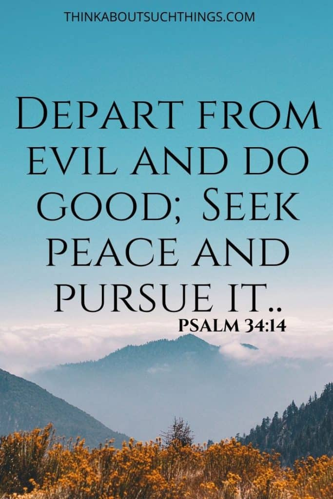 "Scripture on Peace - Psalm 34:14 ""Depart from evil and do good; seek peace and pursue it."""