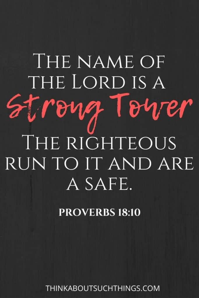 Proverbs 18:10 The Lord is a strong Tower. Bible verses about protection and safety