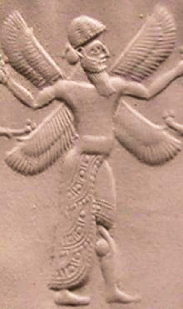 Engraved artwork of a cherub