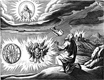 Ezekiel, chapter 1 on Cherub Vision - Illustration by Matthaeus Merian (1593-1650)