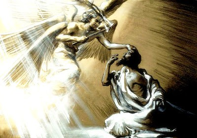 A seraph angel going to the prophet Isaiah