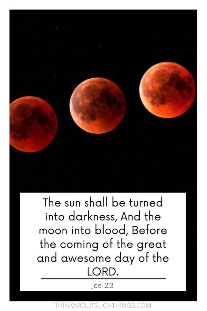 blood moon Bible verse - Joel 2:3 Prophecy
