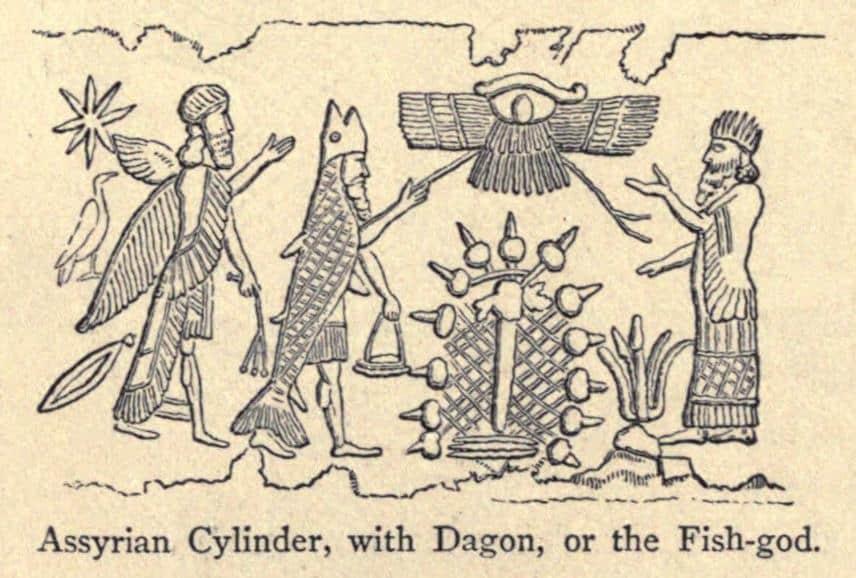 dagon idol image on assyrian cylinder. dagon being worshipped.