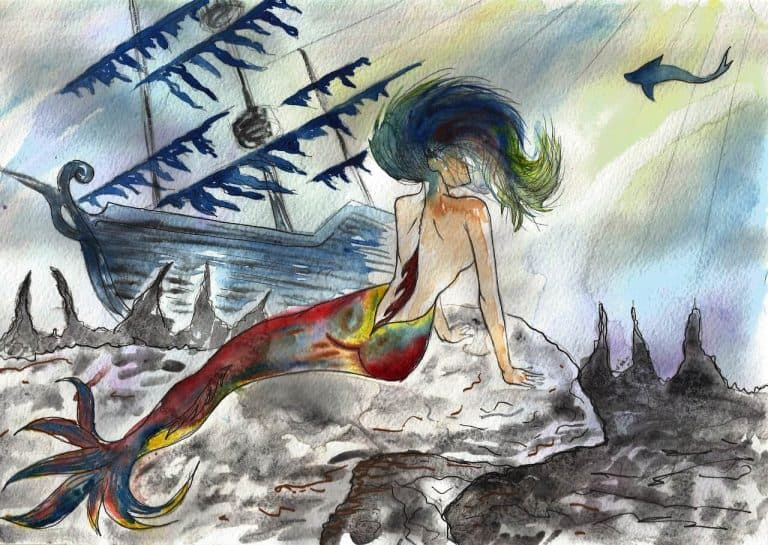 mermaids Bible - mermaid shipwrecked drawing