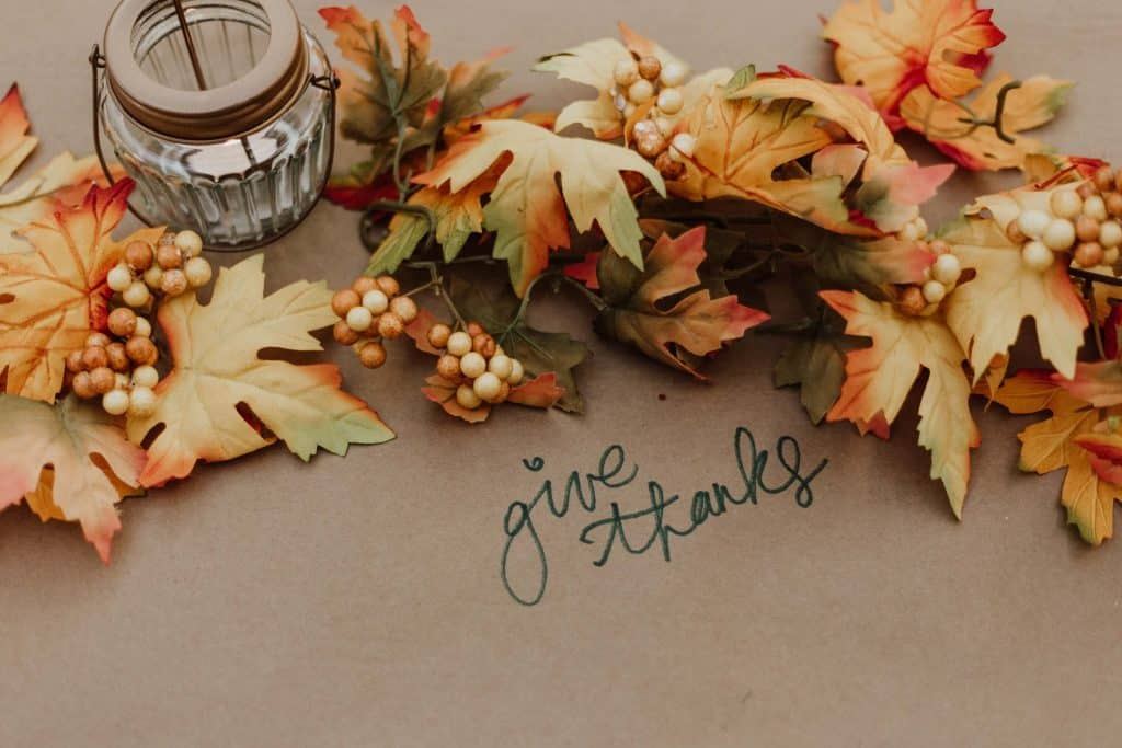 Give thanks written on a dinner table! Thanksgiving Prayer for Thanksgiving day