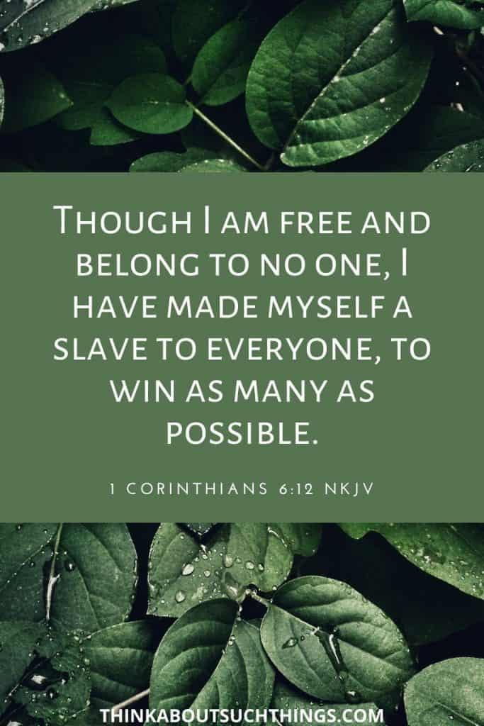 scripture about freedom -Freedom of choice 1 Corinthians 6:12