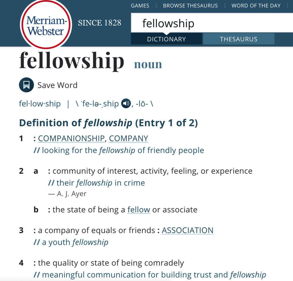 merriam-webster dictionary fellowship