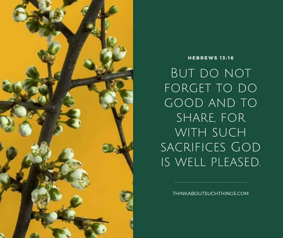 generosity scripture Hebrews 13:16