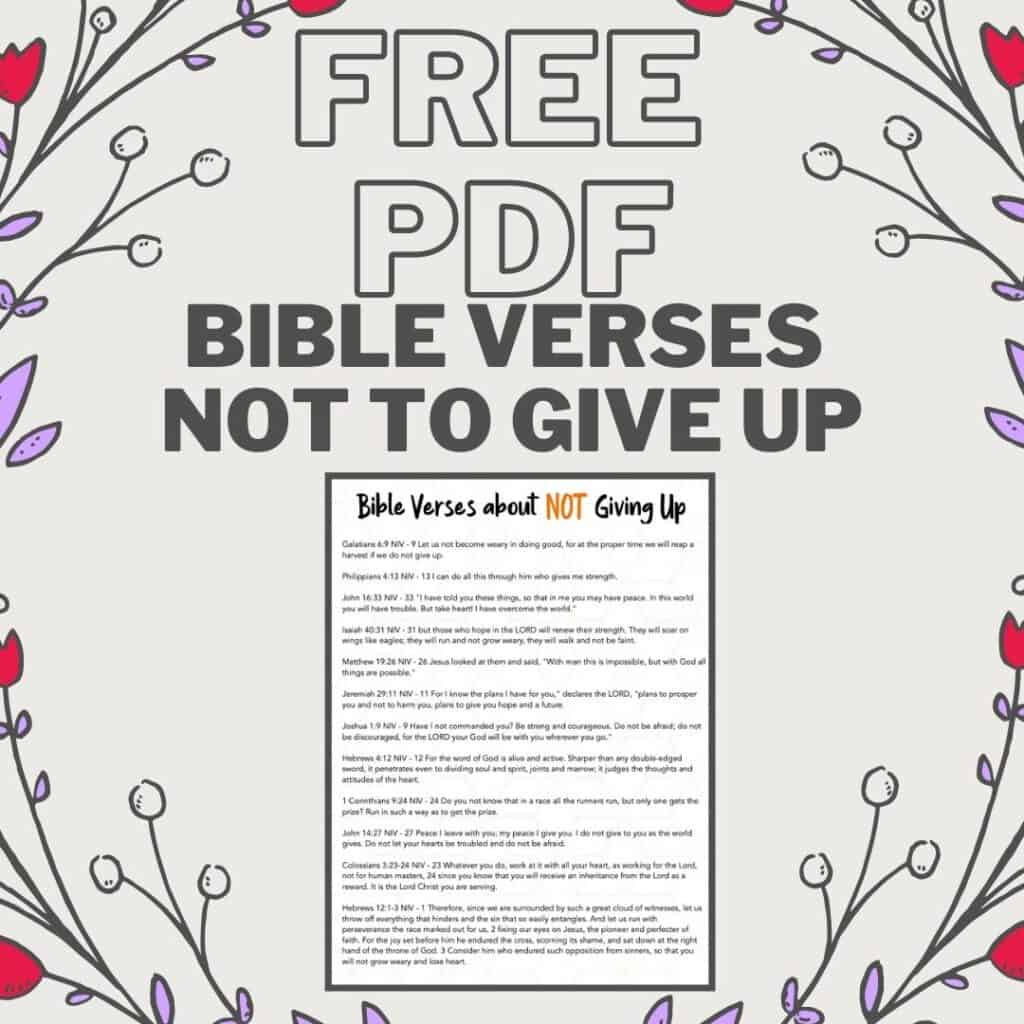 PDF Printable On Don't Give Up Bible Verses