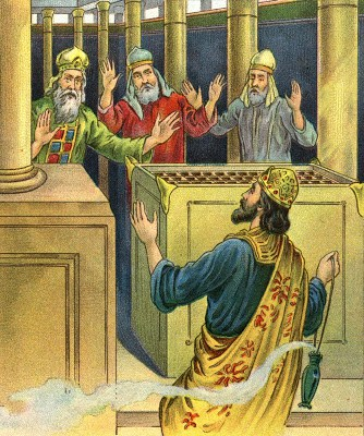 King Uzziah entering the temple