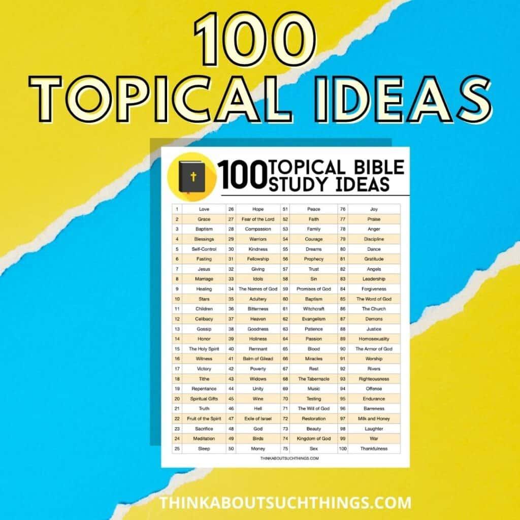 free printable topical bible studies