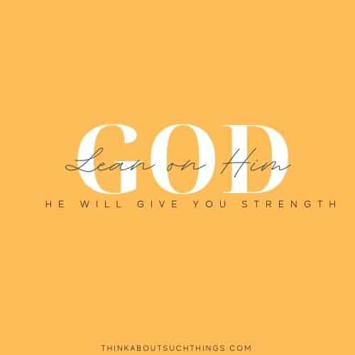 Lean into god