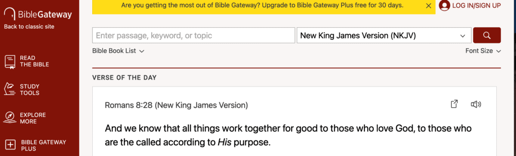 Biblegatway tools for studying