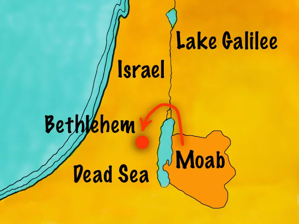 Naomi and Ruth went from Moab to Bethlehem map