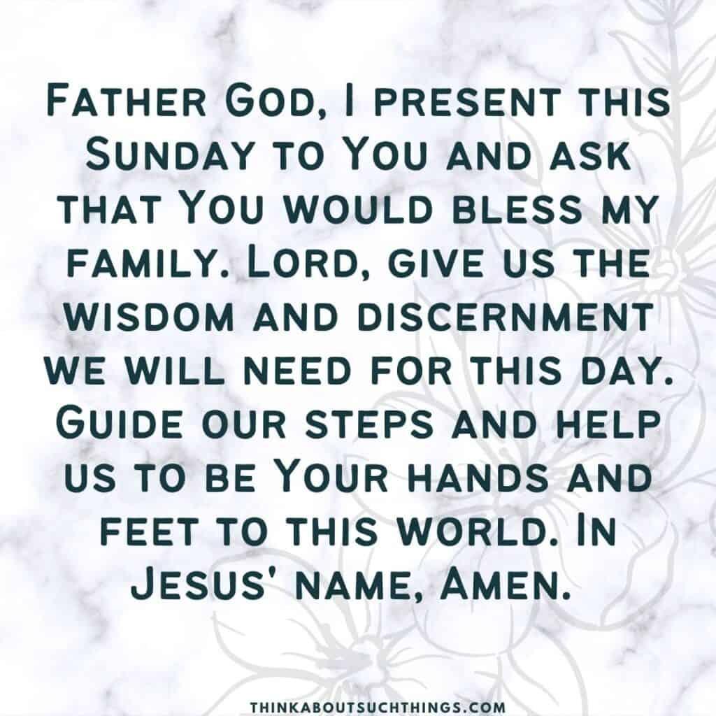 prayer for Sunday