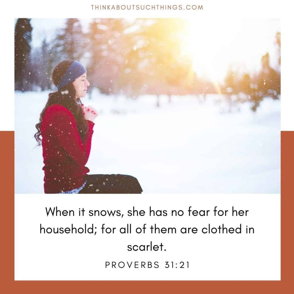 Winter bible quotes Proverbs 31:21