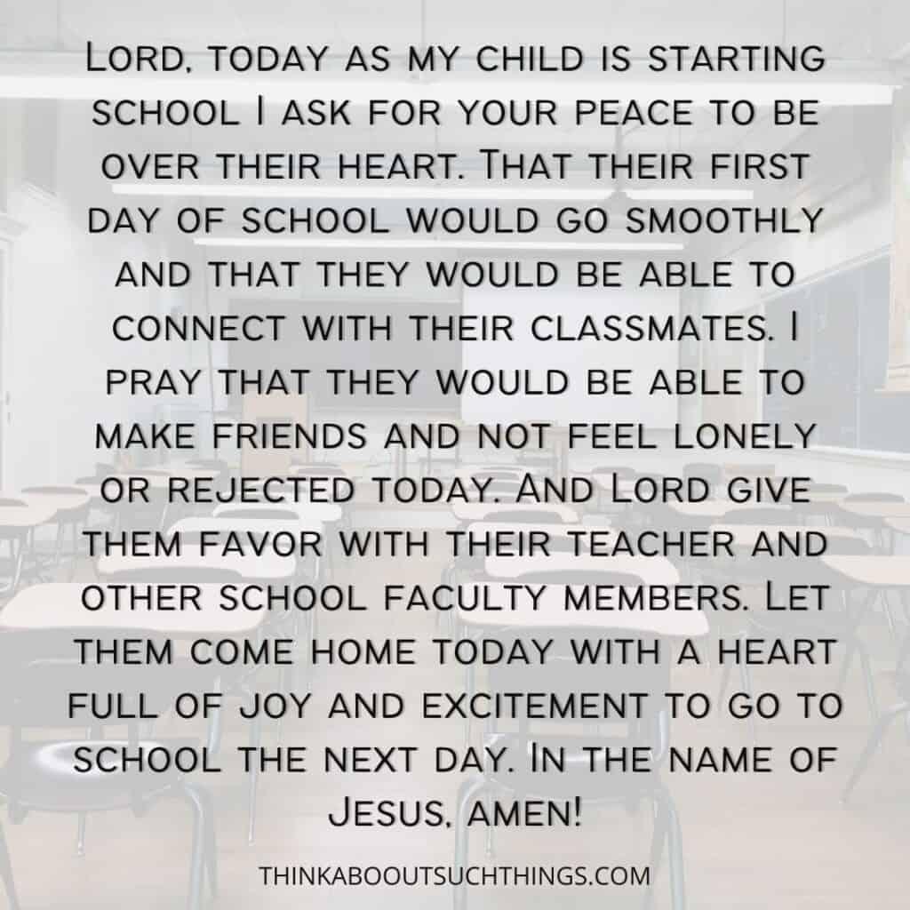 Prayer for Child Starting School